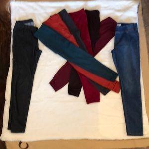Pants - Fleece leggings &2 jean leggings-Sz m-$15 for all
